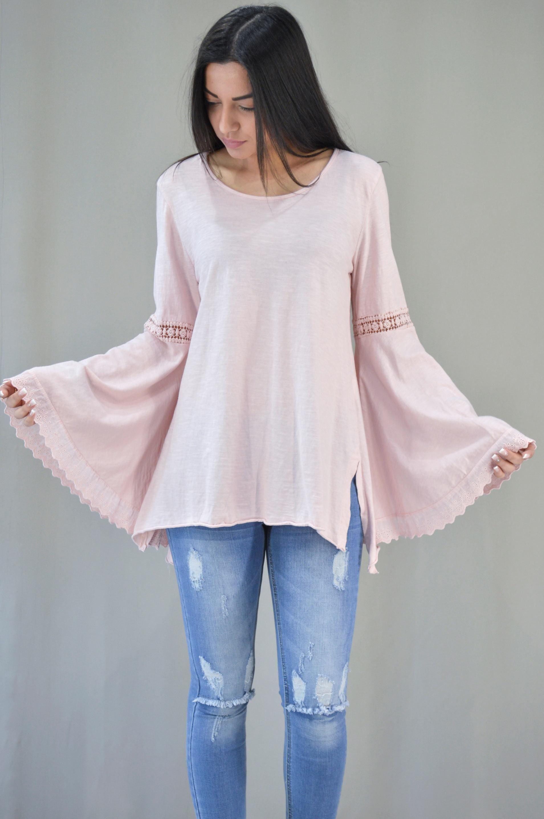 b158a724980f Γυναικεία μπλούζα με καμπάνα μανίκι