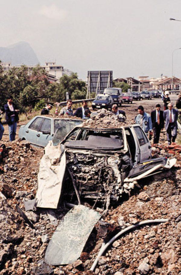 The damage from the car bomb that killed Falcone