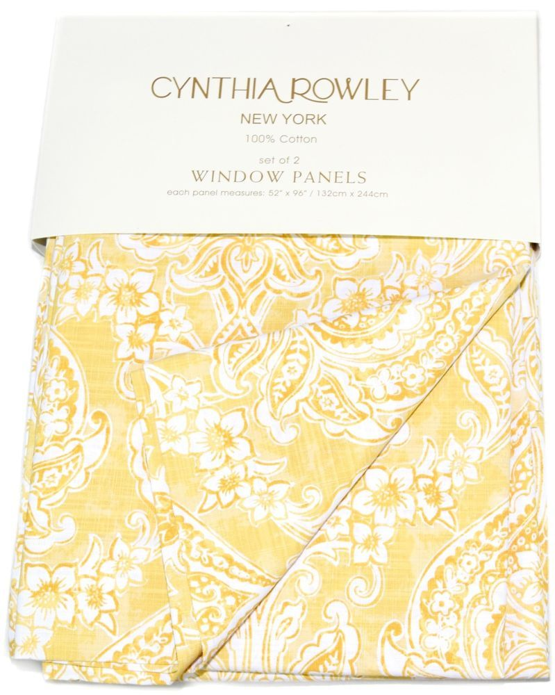 Cynthia Rowley Medallions Window Curtain Panels Set Of 2 Drapes Pair 96 Yellow Panel Curtains Rowley Window Curtains