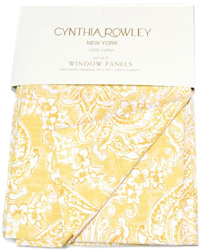 Mustard yellow curtain panels - Cynthia Rowley Medallions Window Curtain Panels Set Of 2 Drapes Pair 96 Yellow
