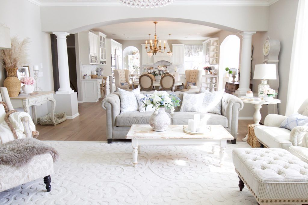 Spring Family Room Refresh With Pale Blue Styled With Lace In 2020 Cheap Living Room Sets French Country Living Room Diy Patio Furniture #pale #blue #living #room
