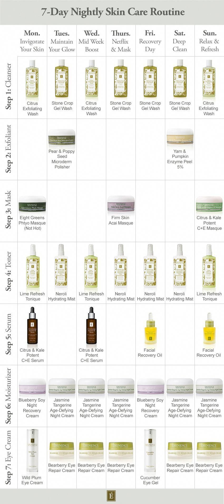 Our 7 Day Nightly Routine For Healthy Glowing Skin Eminence Organic Skin Care Skincreamantiagi Skin Care Remedies Anti Aging Skin Products Aging Skin Care