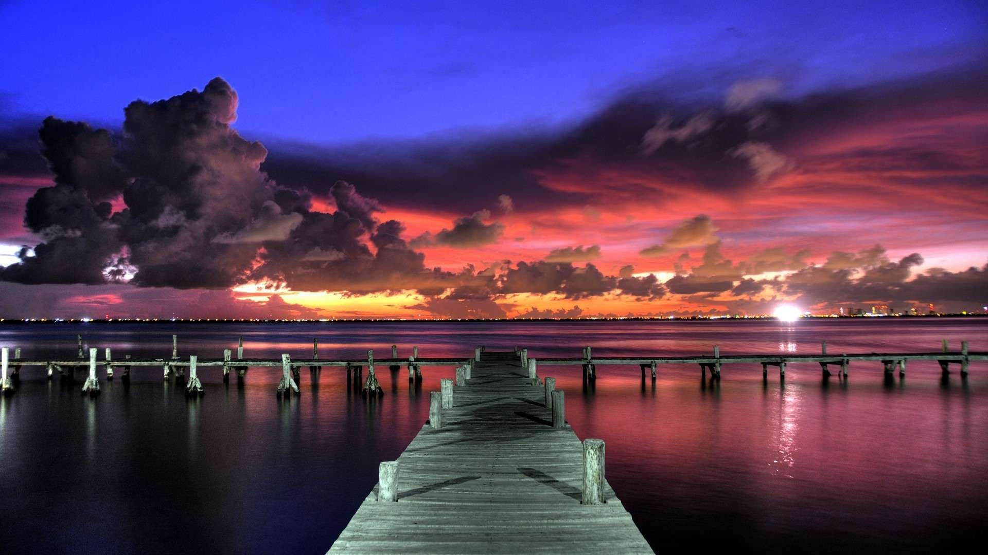 Impressive Clouds over the Dock HD Wallpaper Beach