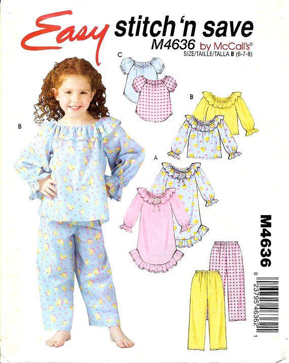 McCalls M4636 Child Girls Pajamas Nightgown Top Pants Pattern Size 6 ...