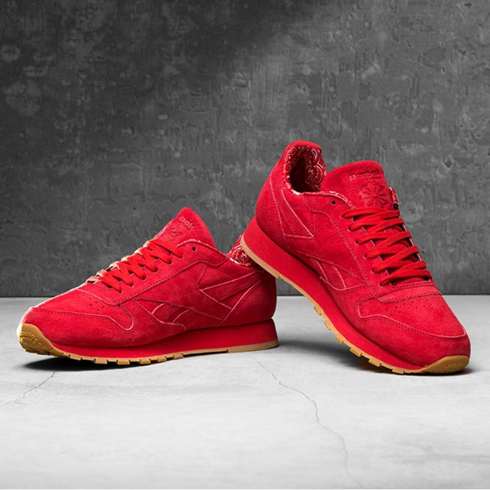 692e5306129 Mens Womens Reebok Classics Leather Suede Paisley Pack Trainers Red Gum  Unisex