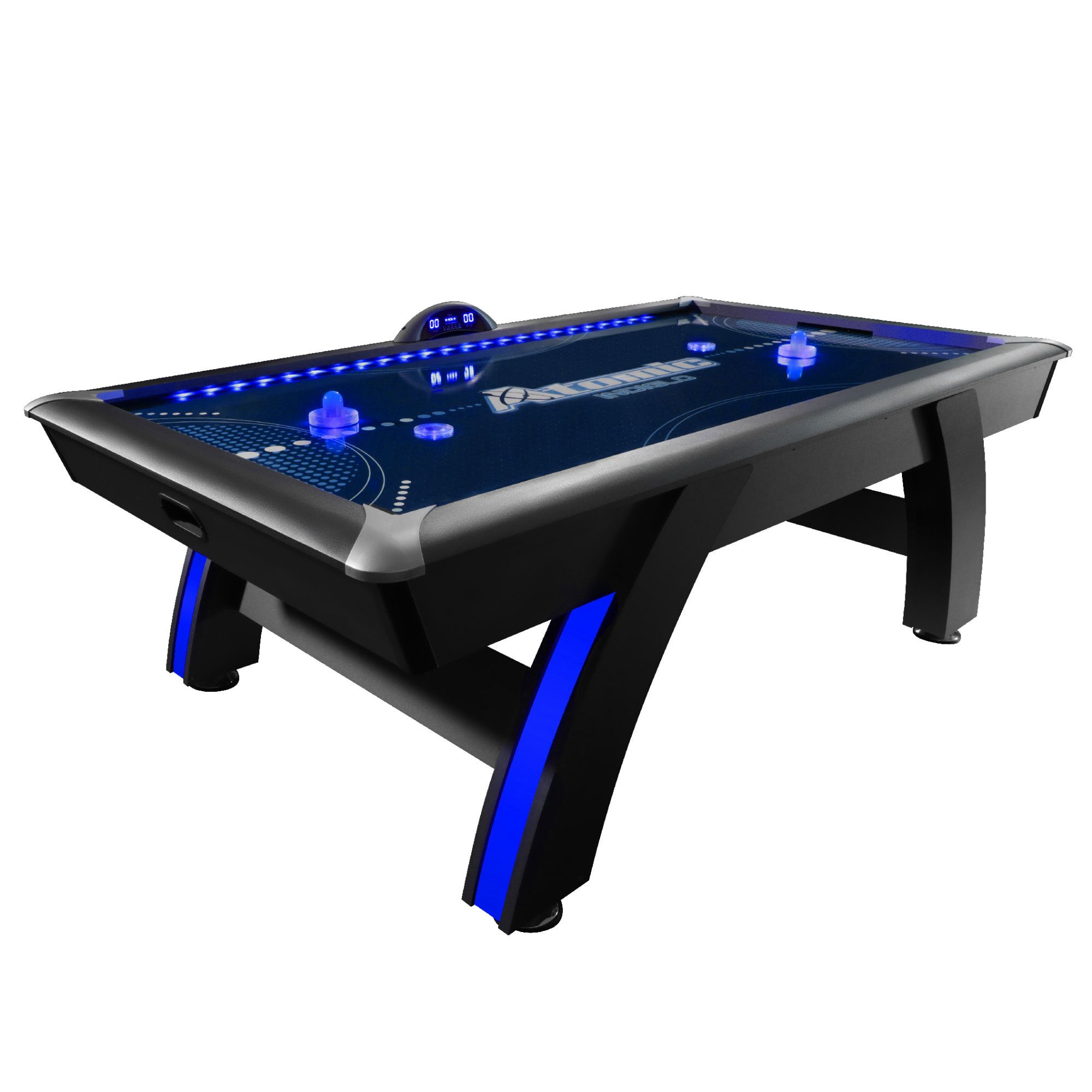 Atomic 7 5 Indiglo Led Light Up Arcade Air Powered Hockey Table Includes 2 Led Pushers And Led Puck Walmart Com Air Hockey Table Air Hockey Led Lights