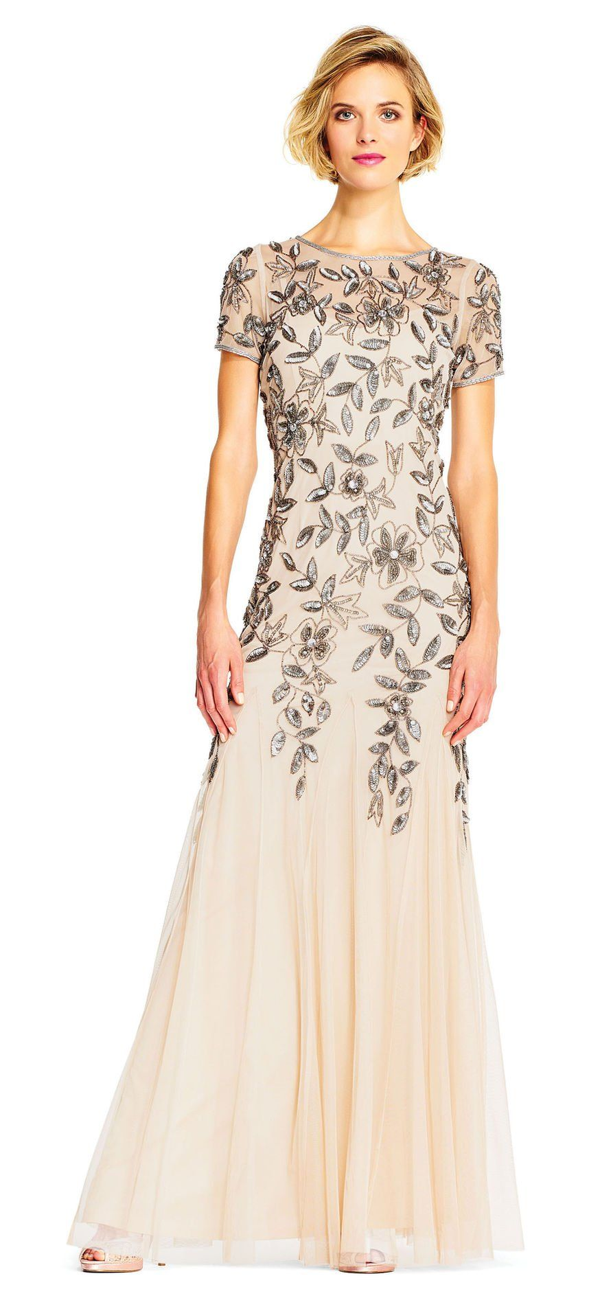 Floral beaded godet gown with short sleeves in getting