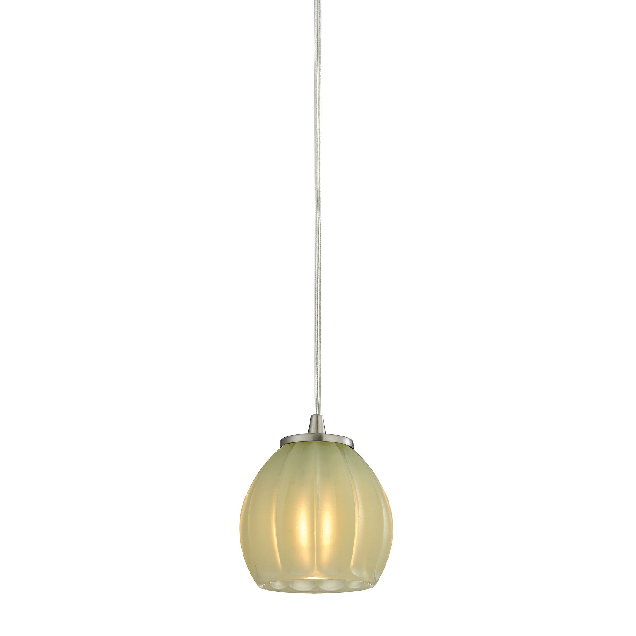 Melony 1 Light Pendant in Satin Nickel and Jade Glass
