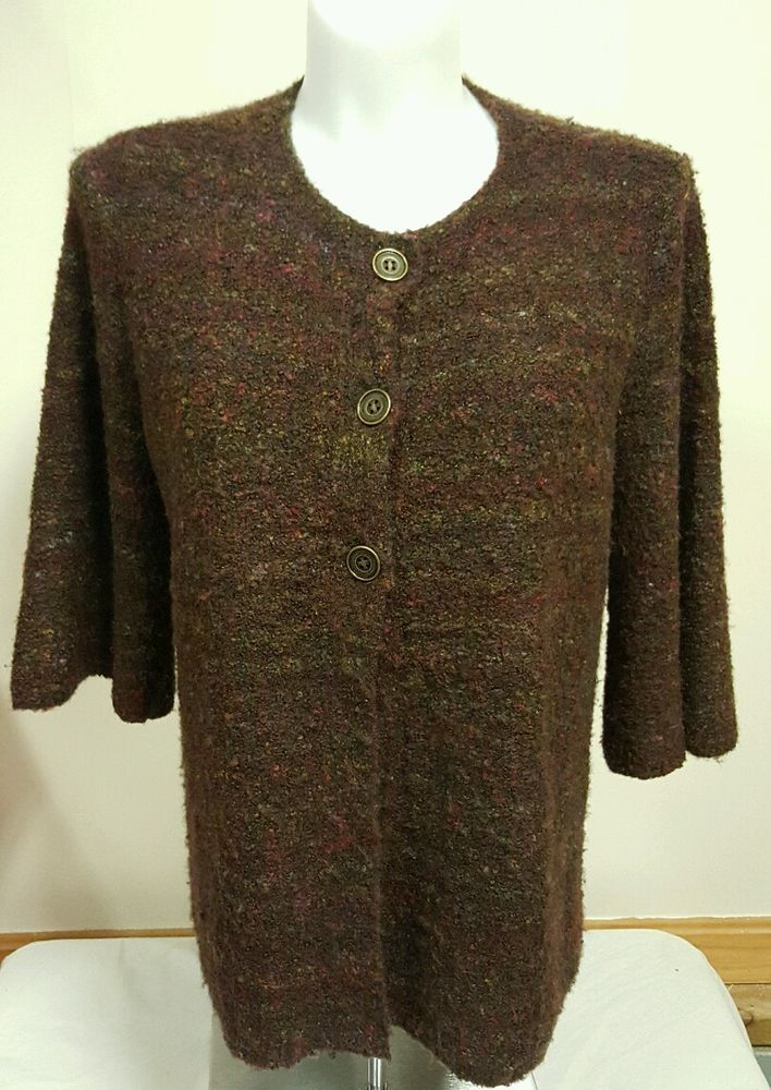 CJ Banks Women's Sweater Jacket Cover Up 3/4 Sleeve Multi Color Size 1X XL EUC #CJBanks #Sweater