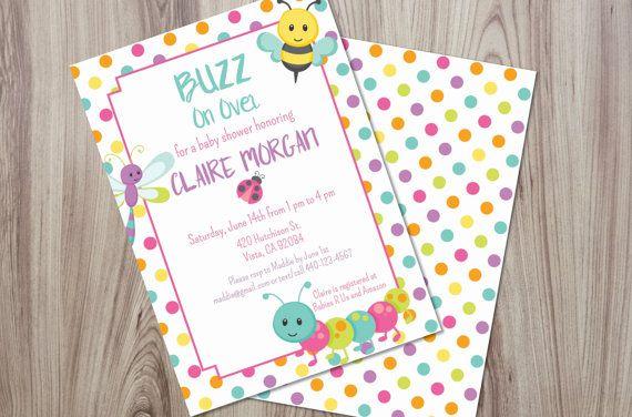 Bug Baby Shower Invitation. Baby Girl Shower Invite. Digital File / DIY / Printable   Elva M Design Studio