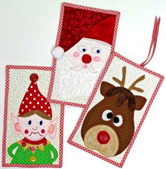 Santa and His Helpers Mug Rug Set PDF Pattern Learn How to Stipple