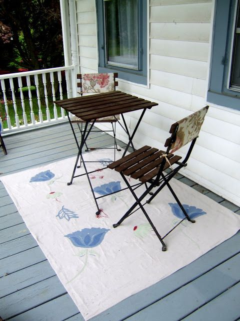 Painted Drop Cloth For Outdoor Rug