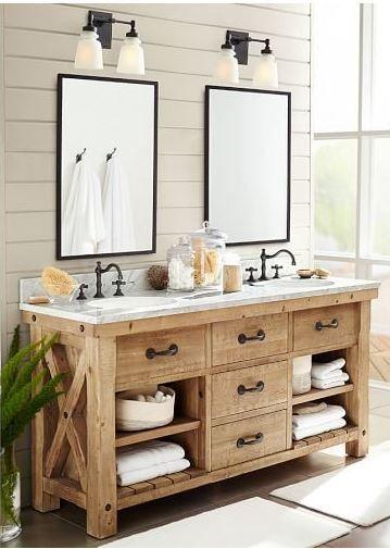 beautiful rustic farmhouse wood bathroom vanity love the shiplap and mirrors too affiliate - Wood Bathroom Vanities