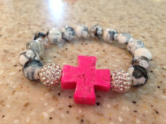 Beaded gray/blk/white bracelet with by ShellyBrennanDesigns, $18.00