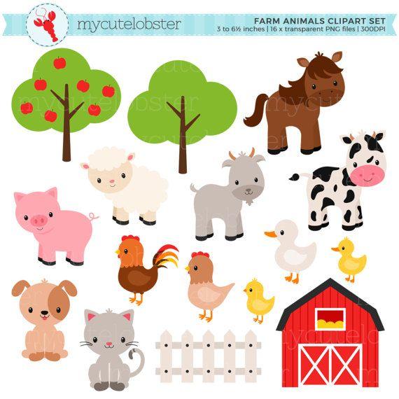 Farm Animals Clipart Set Farm Barn Farmyard Animals Etsy In 2021 Animal Clipart Farmyard Animal Farm Animals
