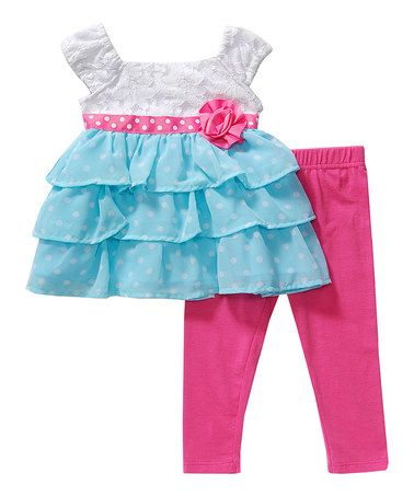 Another great find on #zulily! Blue & Pink Cap-Sleeve Dress & Leggings - Infant, Toddler & Girls by Youngland #zulilyfinds