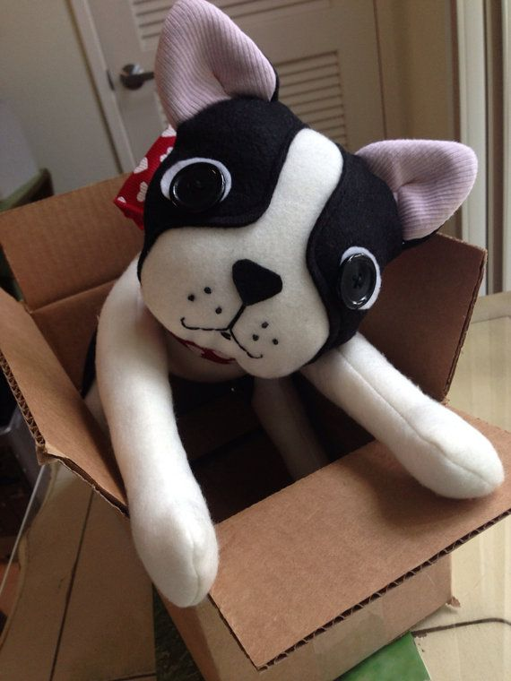 Boston Terrier Stuffed Animal Movable Plush Doll By Clovermint