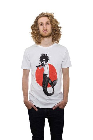 Mermaid Sirena T-shirt 100%cotone organico, stampa serigrafica a mano - 100% organic cotton shirt, screenprinted by hand