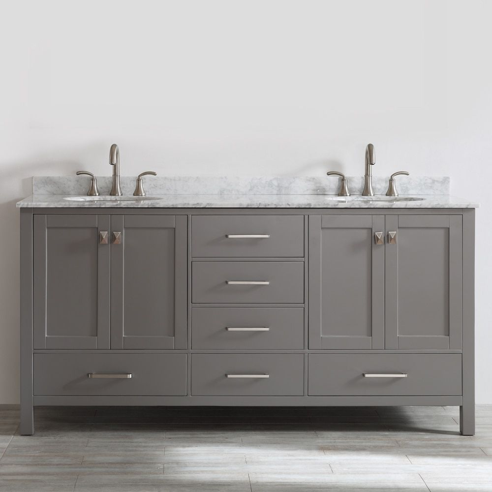 Awesome Websites Gela inch Grey Double Vanity with Carrera White Marble Top without Mirror Overstock