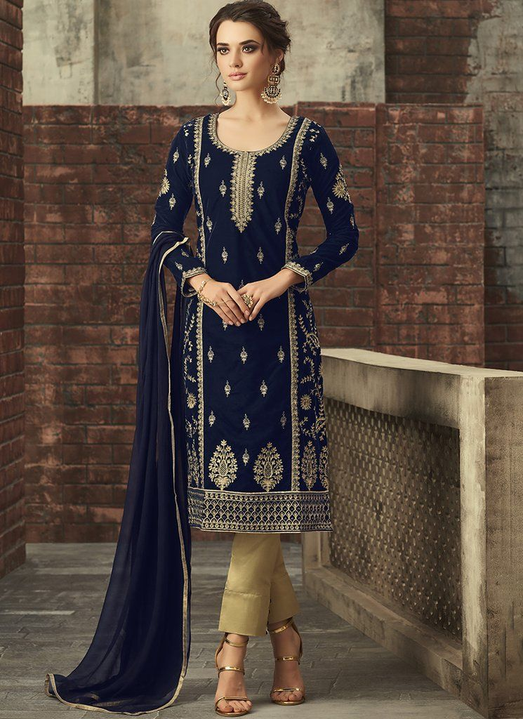 1e8b13bd5b Royal Blue and Gold Embroidered Velvet Straight Suit | Pant Suits in ...