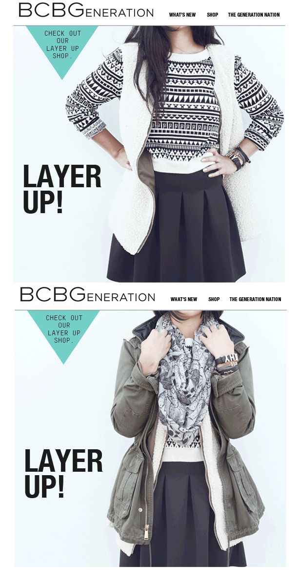 """BCBG Animated """"Layer Up"""" Fall Email"""