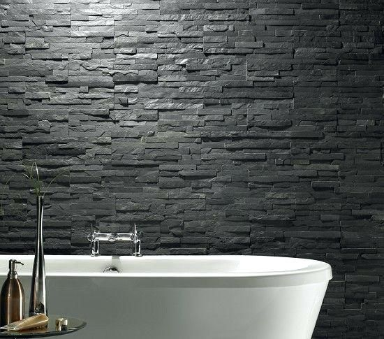 Dark Charcoal Stacked Stone Wall Tiles Rative For Tile Stonewall Product On Black Canada