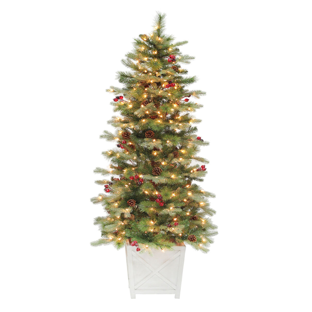 6 Pre Lit Glitter Berry Potted Fir Christmas Tree With 250 Lights F32 In 2020 Fir Christmas Tree Christmas Tree Fashion Christmas Tree