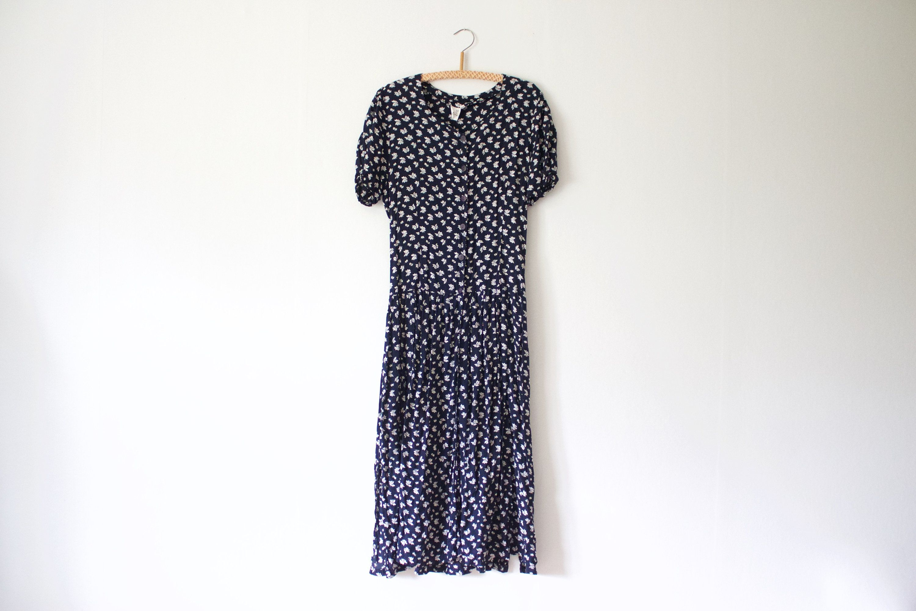 Vintage Women's Navy Blue White Floral Midi Button Up Dress // Short Sleeve Summer Button Front Viscose 90s Dress // S Small // 90s Clothing #navyblueshortdress
