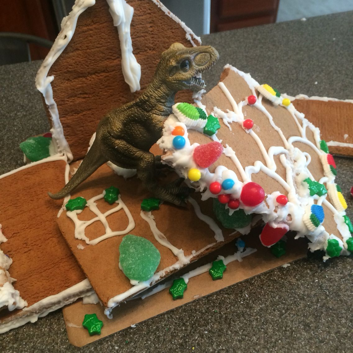 Dinosaur gingerbread house Christmas gingerbread house