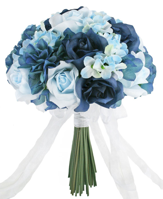 Hydrangea Rose Navy Light Beach Blue Hand Tie Medium Silk Bridal Wedding Bouquet Silk Flowers Wedding Artificial Wedding Bouquets Blue Wedding Flowers