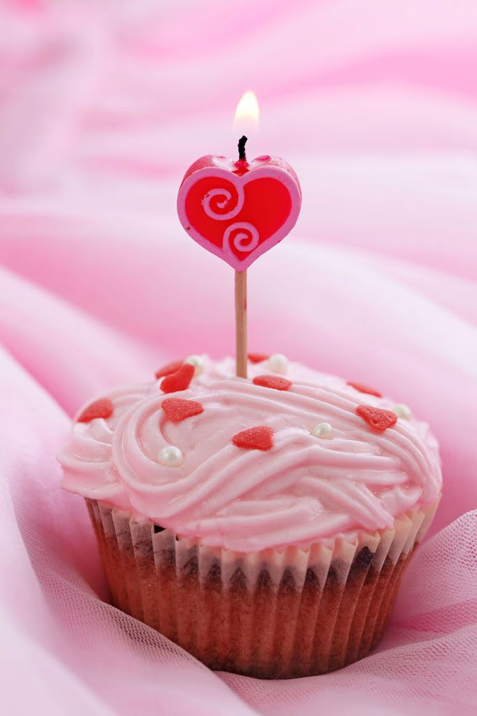 A Valentine\'s Day cupcake with a candle.. blow it out and make a ...
