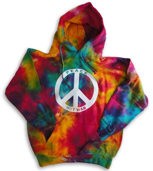 Men/'s tie dye sweatshirt hoodie peace sign peace symbol hippie sweat shirt hoody