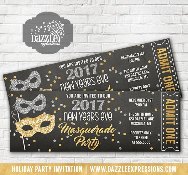 printable glitter masquerade new years eve party chalkboard ticket invitation gold and silver confetti ring in the new year birthday or any event