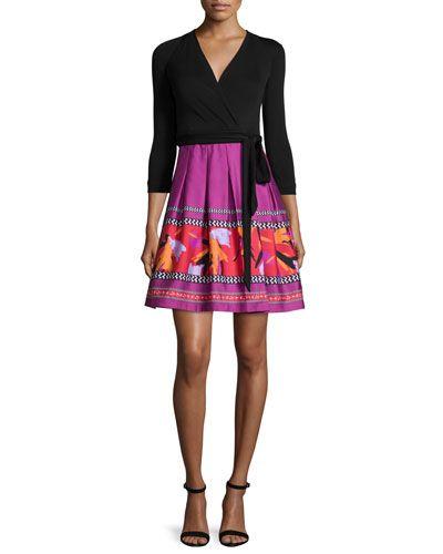DIANE VON FURSTENBERG Diane Von Furstenberg 3/4-Sleeve Combo Wrap Dress, Black Floral Beet. #dianevonfurstenberg #cloth #