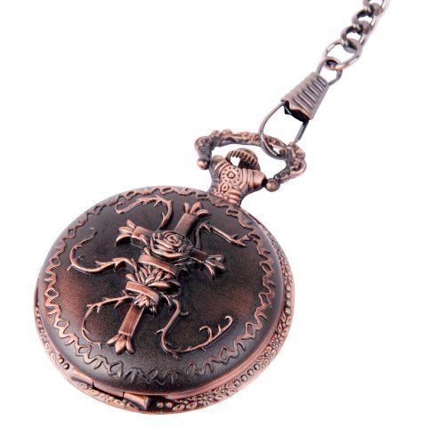 Pocket Watch Quartz Movement Bronze Cross Motif Case Arabic Numerals with Chain Full Hunter Good Value PW-21 | Your #1 Source for Watches an...