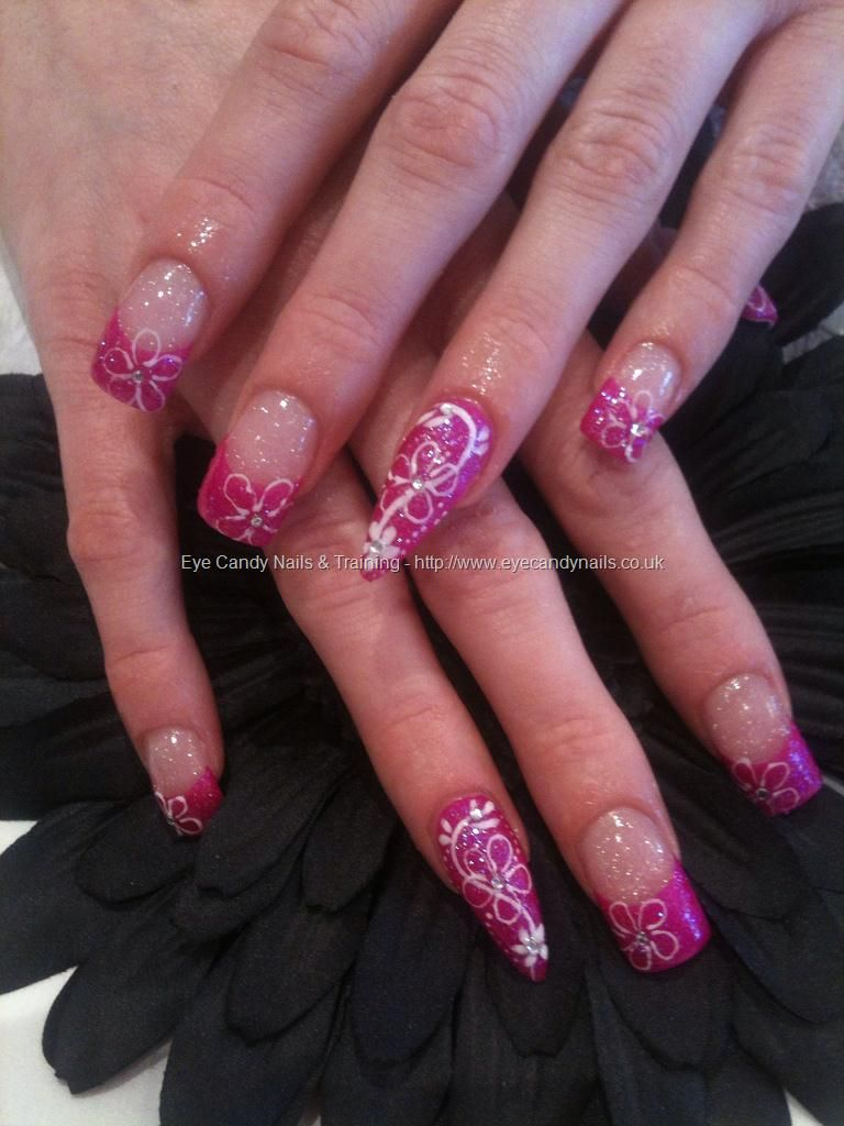 Pink Glitter Freehand Nail Art I Dont Like The Stiletto But I Do