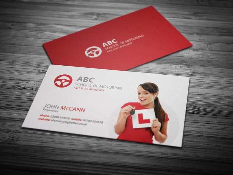 Business card design and printing for driving school in Belfast ...