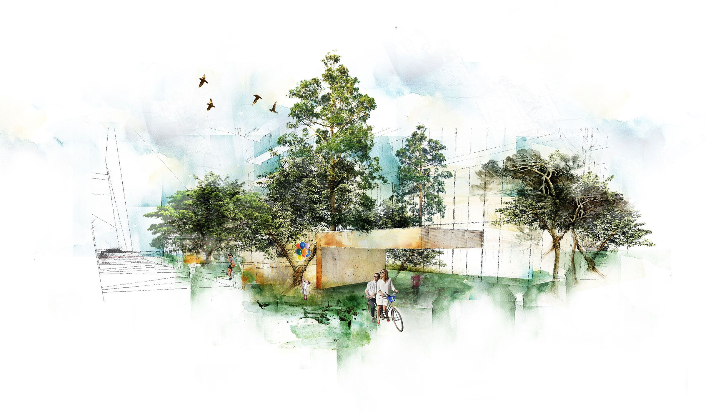 Wardian Park London Landscape Architecture Watercolour