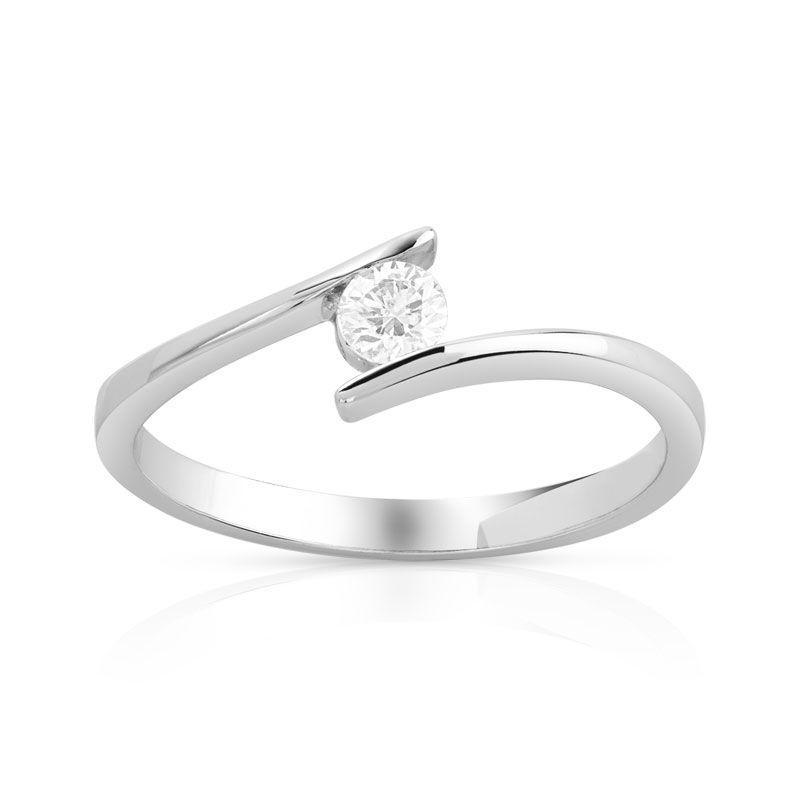 bague solitaire or 750 blanc diamant