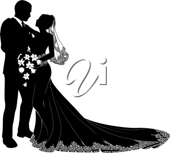 royalty free clipart image of a bride and groom silhouette wedding rh pinterest com