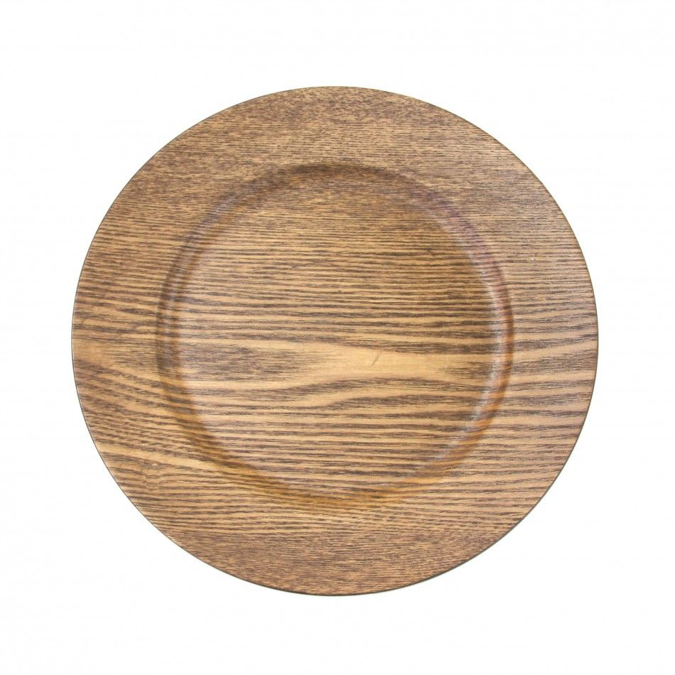 Walnut Faux Wood Charger Plates | Enchanted Garden | Wood
