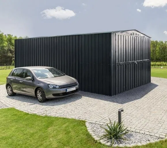 Lotus 10 Fronted Metal Double Hinged Garage Anthracite Grey Metal Garages Double Doors Garden Buildings