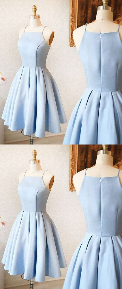 light blue party dress spaghetti straps evening dress A-Line homecoming short dress