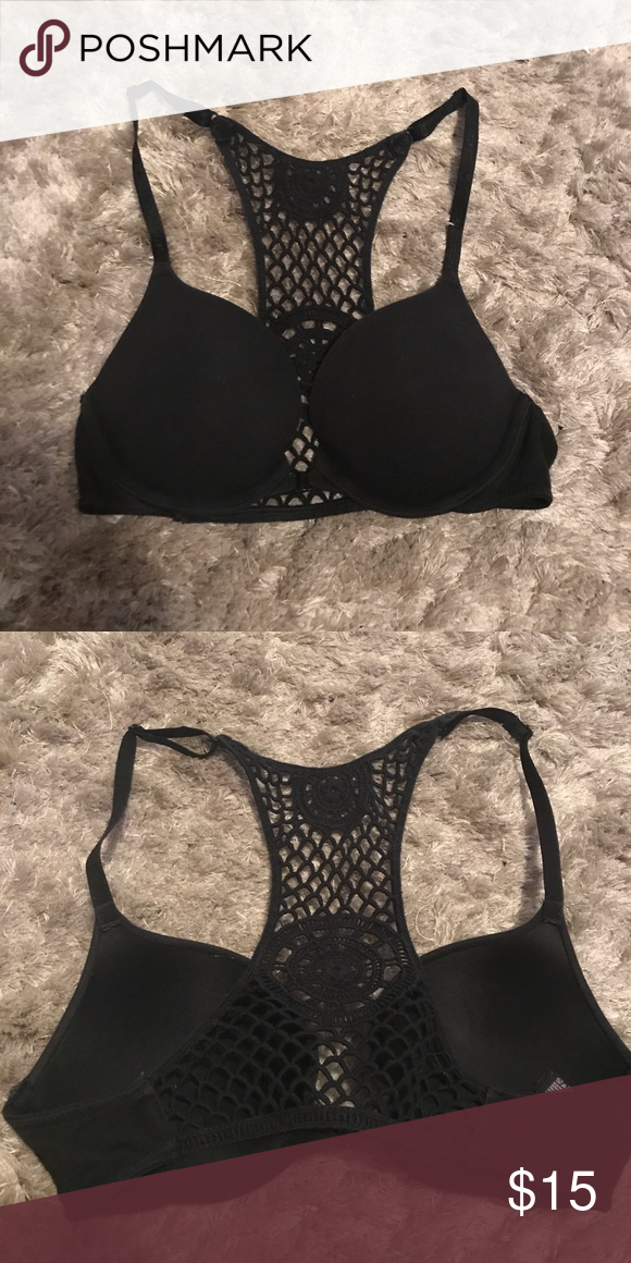98fefa76476a9 Front close crochet racer back push up bra Black push up sexy tee bra that  clasps in the front for a crochet racer back feature Victoria s Secret  Intimates ...