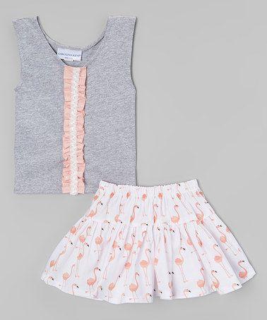 Look at this #zulilyfind! Gray Ruffle Flamingo Top & Skirt - Toddler & Girls #zulilyfinds