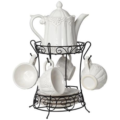 So cute! Tea, anyone? White 9-Piece Porcelain Tea Set with Rack #teapot #tea #grannychic