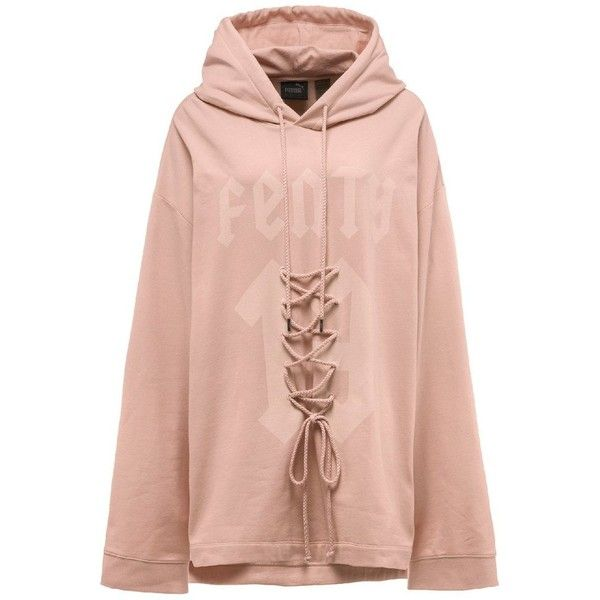 3f806d38ebcf Shop Fenty Puma by Rihanna LS Graphic Front Lacing Hoody -MadisonStyle  ( 130) ❤ liked on Polyvore featuring tops