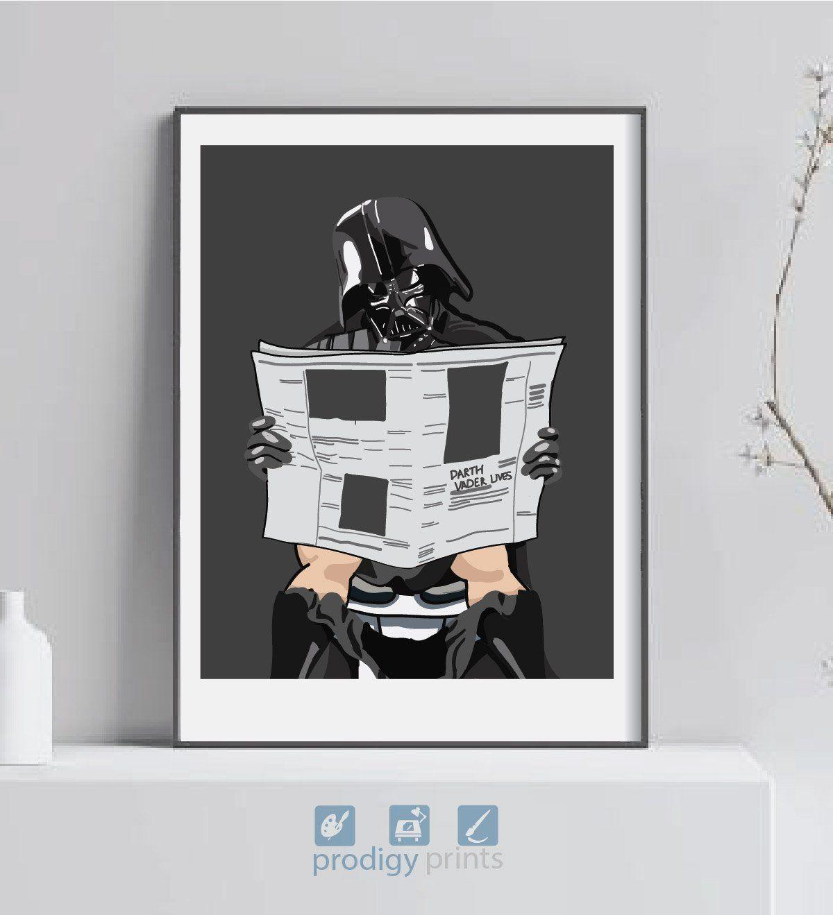 Darth Vader Print Darth On The Toilet Star Wars Art Toilet