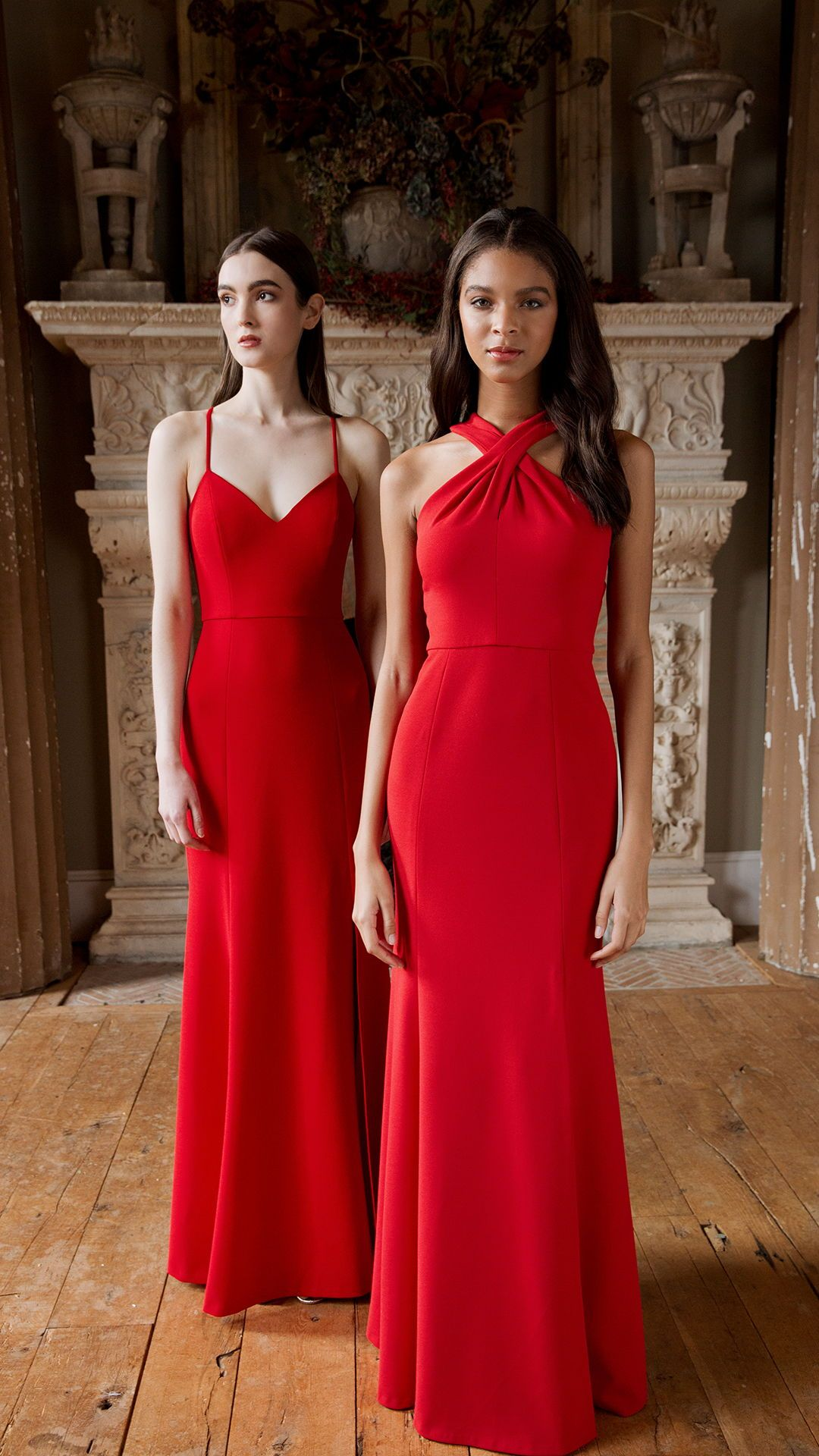 Jenny yoo bridesmaids knit crepe long styles shown in lipstick