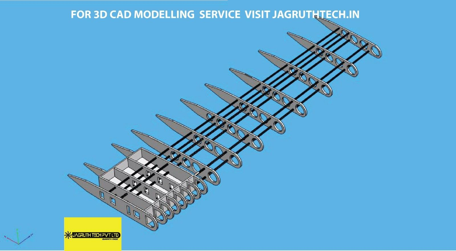 3D CAD model of aircraft wing by Jagruthtech in Jagruth Tech Pvt Ltd